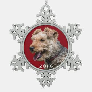 Schneeflocke-Verzierung Walisers Terrier Schneeflocken Zinn-Ornament