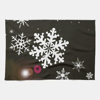 Schneeflocke-Weihnachtshintergrund Küchenhandtücher