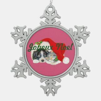 Schneeflocke-Weihnachtsverzierungs-Welpe und Schneeflocken Zinn-Ornament