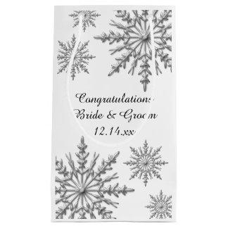 Schneeflocke-Winter-Hochzeits-Glückwünsche Kleine Geschenktüte