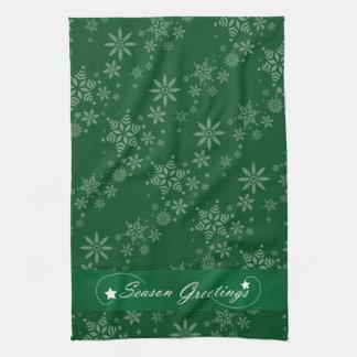 Schneeflocken auf grünem Hintergrund Handtuch
