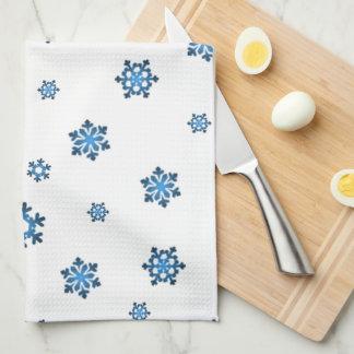 Schneeflocken (Blau u. Schwarzes) Handtuch