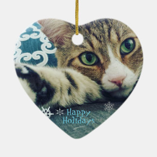 Schneeflocketabby-Katzen-Verzierung Keramik Ornament