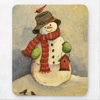 Schneemann 4905 u. Birdhouse-Weihnachten Mousepad
