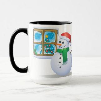 Schneemann am Fenster Tasse