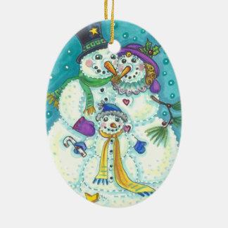 Schneemann-Familie WEIHNACHTSverzierung Keramik Ornament