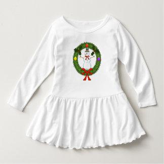 Schneemann im Kranz-Kleinkind-Rüsche-Kleid Kleid
