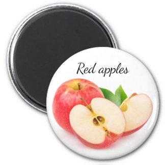 Schneiden Sie rote Äpfel Runder Magnet 5,7 Cm