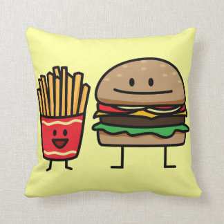 Schnellimbißbrötchenkram des Hamburgers und der Kissen