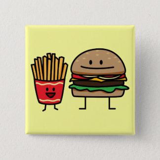 Schnellimbißbrötchenkram des Hamburgers und der Quadratischer Button 5,1 Cm