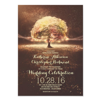 Schnur beleuchtet Baum-elegante Vintage Hochzeit Karte