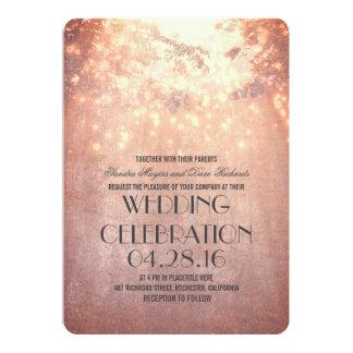 Schnur beleuchtet Baumast-rustikale Hochzeit 12,7 X 17,8 Cm Einladungskarte