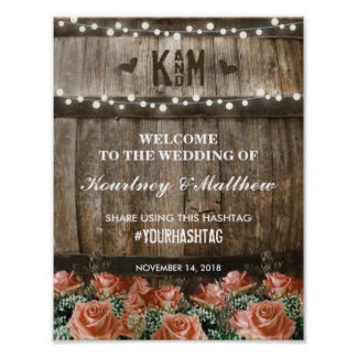 Schnur beleuchtet | rustikale Land-Fass-Hochzeit Poster