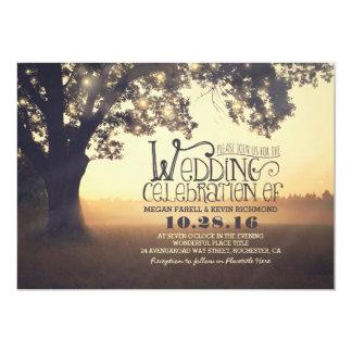 Schnur der Licht-Baum-rustikalen Vintagen Hochzeit Karte