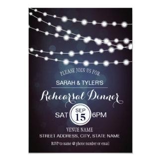 Schnur-Lichter lädt blaues Bokeh Proben-Abendessen 12,7 X 17,8 Cm Einladungskarte