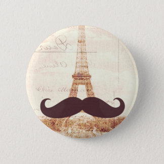 Schnurrbart-Eiffelturm Runder Button 5,1 Cm