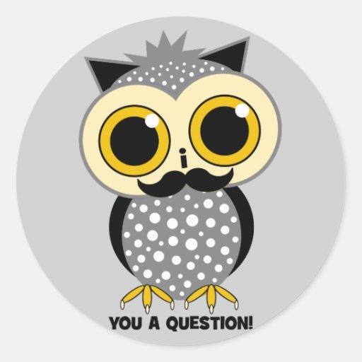 Schnurrbart I Sie eine Frageneule Stickers
