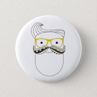 Schnurrbart-Mann Runder Button 5,7 Cm