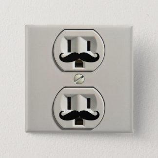 Schnurrbart-Powerausgang Quadratischer Button 5,1 Cm