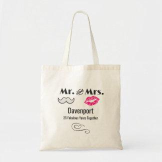 Schnurrbart u. Lippen Herr u. Frau - Jahrestag Budget Stoffbeutel