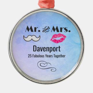 Schnurrbart u. Lippen Herr u. Frau - Jahrestag Silbernes Ornament