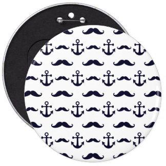 Schnurrbart und Anker Runder Button 15,3 Cm