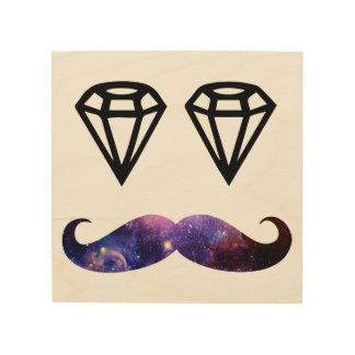 Schnurrbart und Diamanten Holzleinwand