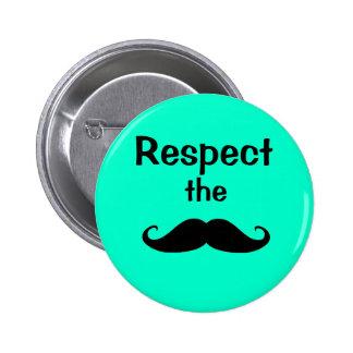 Schnurrbartrespekt Runder Button 5,1 Cm