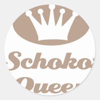Schoko- Queen Runde Aufkleber