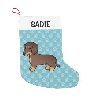 Schokolade und Mantel-Dackel-Hund TANs glatter Kleiner Weihnachtsstrumpf