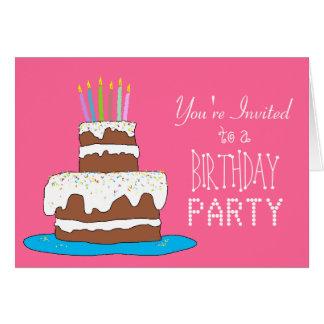 Schokoladen-Kuchen-Mädchen-Geburtstags-Party Grußkarte