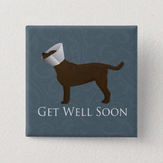 Schokoladen-Labrador erhalten Brunnen-bald Entwurf Quadratischer Button 5,1 Cm