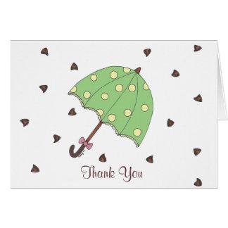 Schokoladen-Regen-Regenschirm-Regentropfen danken Karte