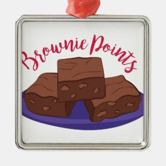 Schokoladenkuchen-Punkte Silbernes Ornament