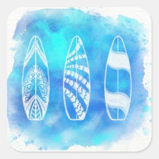 Schöne blaue Aquarell-Wasser-Surfbrettkunst Quadratischer Aufkleber