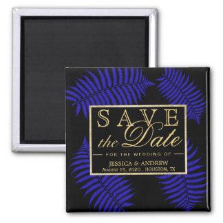 Schöne blaue Blatt-Adlerfarn-Hochzeit Quadratischer Magnet