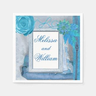 Schöne blaue rustikale Hochzeit Papierserviette