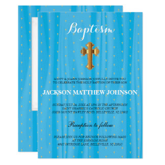 Schöne blaue u. weiße Satin-Taufe/Taufe 12,7 X 17,8 Cm Einladungskarte