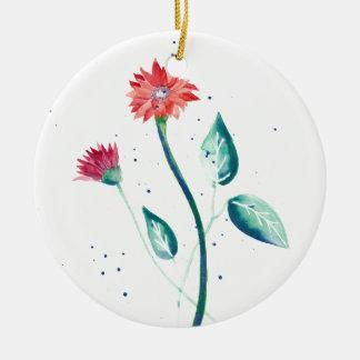 Schöne Blume Rundes Keramik Ornament