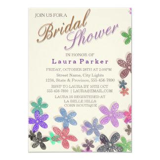 Schöne Blumenrosa Brautparty-Sahnehochzeit 12,7 X 17,8 Cm Einladungskarte
