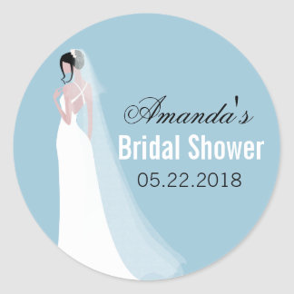 Schöne Braut-personalisiertes Brautparty Runder Aufkleber