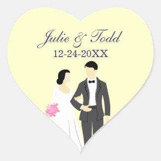 Schöne Braut-u. Bräutigam-Hochzeit Herz-Aufkleber