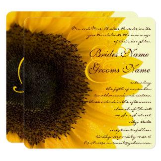 Schöne elegante Sonnenblume-Hochzeits-Einladung Quadratische 13,3 Cm Einladungskarte