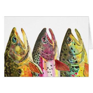 Schöne Forelle drei Grußkarte