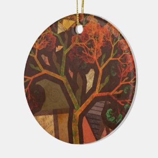 Schöne Fraktal-Collage eines Origami Herbstes Keramik Ornament