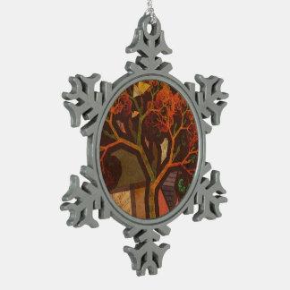 Schöne Fraktal-Collage eines Origami Herbstes Schneeflocken Zinn-Ornament