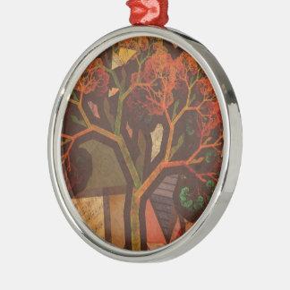 Schöne Fraktal-Collage eines Origami Herbstes Silbernes Ornament