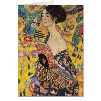Schöne Frau mit Fan durch Klimt Karte