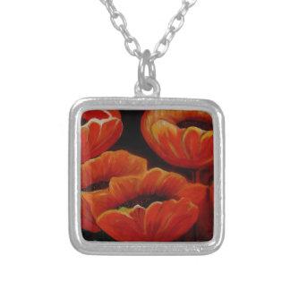 Schöne gemalte orange niederländische Tulpen Halskette Mit Quadratischem Anhänger