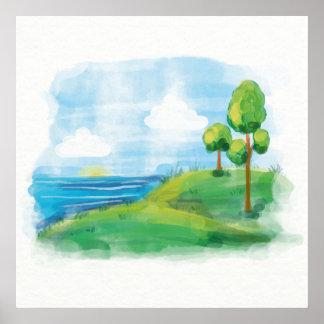 Schöne idyllische Sommer-Landschaft Poster